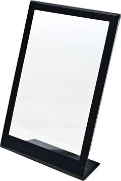 Portacartel inclinado A5 con marco negro